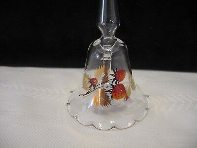 "9"" Long Handled Clear Glass Bell with Strawberry Design (F20)"