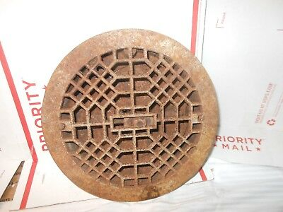 Victorian Round Cast IRON Floor Wall Grate Heat Vent  9 1/2 Antique