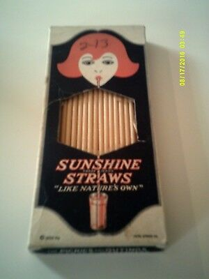 Vintage 1932 SUNSHINE STRAWS Disposable Paper Straws Nearly Full