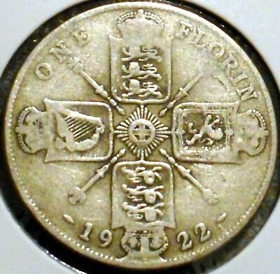 British Florin - 1922 - King George V - $1 Unlimited Shipping