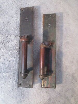 Vintage Pair of Brass Door Pull Plates with Thumblatch.