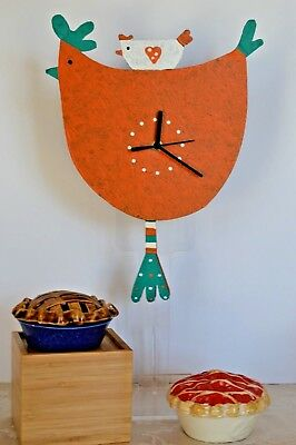 """METAL ART CLOCK ORANGE HEN Recycled Metal"""" CLOSE OUT SALE"""" ships in 48 hrs"""