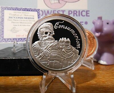 2017 2oz Consumerism Proof Silver Shield ONLY 200 MINTED Free CU