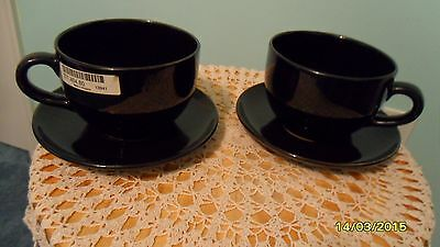 Vintage 2  Large European Style Cups and saucers - Black -  Made in Bulgaria New