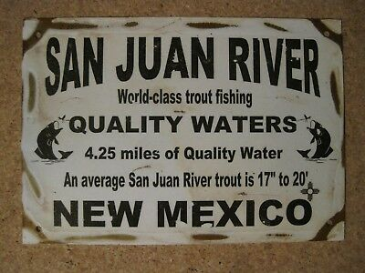 "NEW Rustic Antique Vintage Style Metal Sign ""San Juan River Quality Water"""