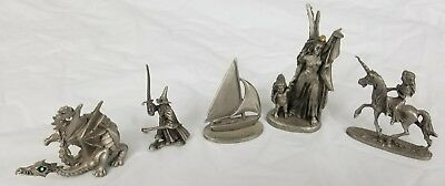 Lot of Pewter Figure Dragon Wizard Unicorn Provincetown