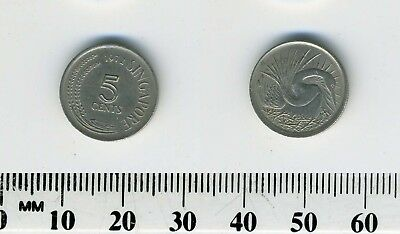 Singapore 1972 - 5 Cents Copper-Nickel Coin - Anhinga or Snake Bird