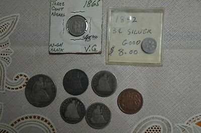 Lot Seated Liberty Half Quarter Dollar 1840 1853 3 Cent Piece 3 Cent Nickel