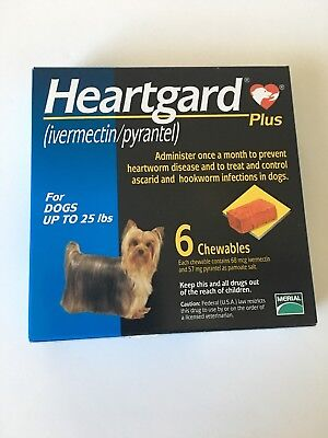 NIB Heart Gard Plus Merial 6 Chewables for small Dogs up to 25 Lbs (USA)