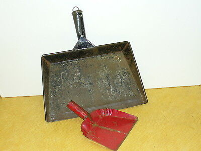 "2 vintage METAL DUST PANS-13"" & 6 "" farm find"
