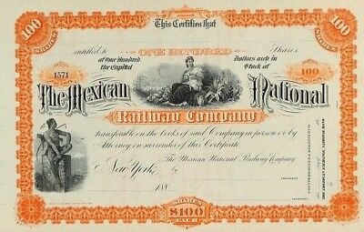 MEXICO F/5. THE MEXICAN NATIONAL RAILWAY CO. Certificate of 100 Shares $100-1888