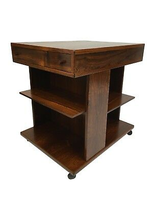 Circa 1960s Danish Rosewood Bookcase Table Mid Century Modern Rolling Cart