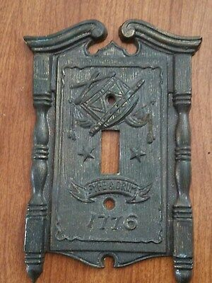 Vtg American Tack & Howe Brass Fyfe Drum Single Toggle Switch Plate Cover USA