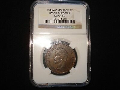 1838M C MONACO 5C KM-95.2a Copper NGC AU58 Brown