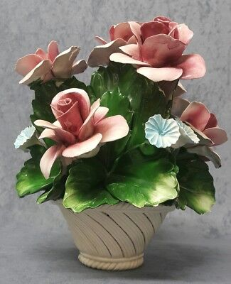 Vintage Large CAPODIMONTE NUOVA Flowers Roses in the Vase Porcelain ITALY