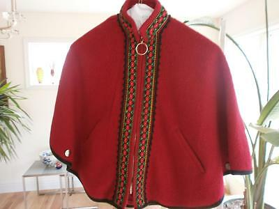 Girl`s Georgeous One Size  Norwegian Red Boiled Wool Cape Norway