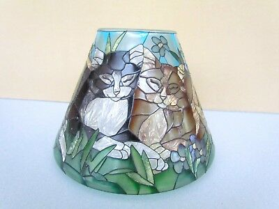 Vintage Tiffany Cats Stained Glass Lampshade by Joan Baker RARE No Reserve