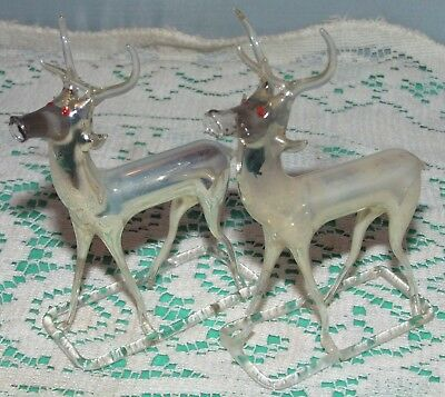 Antique pair of Hand Blown German Mercury Glass REINDEER Figures ~ Red Eyes