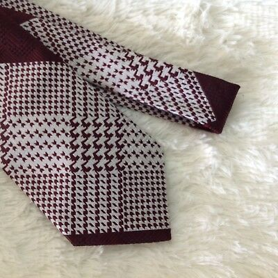 Vintage 70s Maroon White Print Polyester Hipster Wide Bottom Tie Surreys