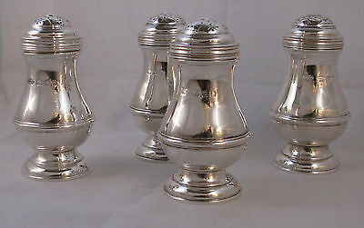 SET 4 ENGLISH STERLING SILVER REPRODUCTION CASTERS by WALTER M. WILLSON 1953