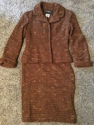 Authentic CHANEL CC Logos button tweed Setup Jacket Brown Size 42 M0894