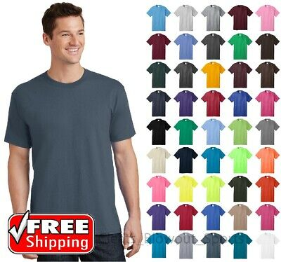 Mens Core Cotton T-Shirt Soft Color Blank Plain Solid Comfort Casual Tee PC54