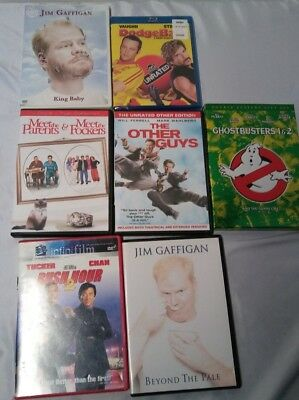 Lot of 8 Used New DVD Movies Dodgeball Ghostbusters Jim Gaffigan The Other Guys