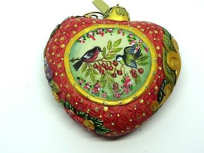 Vintage G. DeBrekht Red Puffed Heart Hanging Ornament – Hand Painted Song Birds