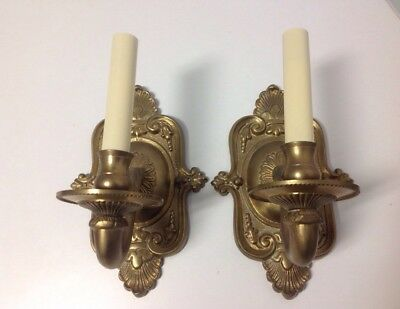 Antique Vintage Heavy Solid Brass  electric wall sconces