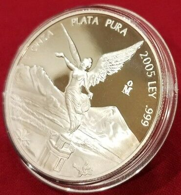 2005 Mexico Libertad ONZA 1.0 oz Proof (31.1 Grams) .999 Silver, Lower Mintage