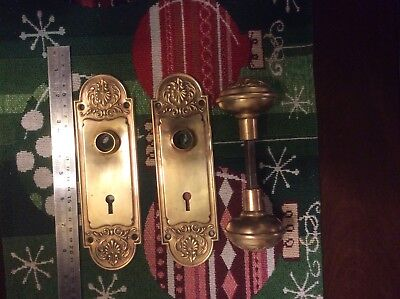 Antique Brass Ornate Eastlake Doorknobs With Door Plate