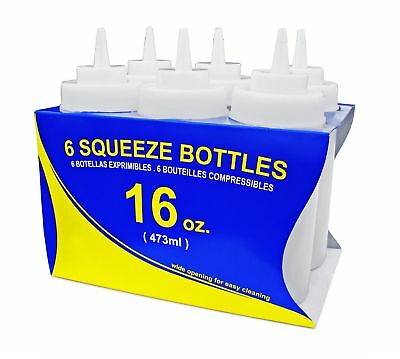 New Star Foodservice 26269 Squeeze Bottles Plastic Wide Mouth 32 oz Clear 6 Pack