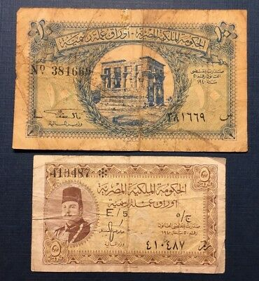 Lot 1940 Egypt: 5, 10  Piastres, 2 (Two) VG and F Banknotes No Reserve