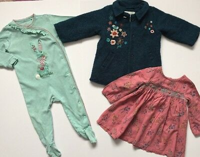 Next Baby Girl Outfit Small Bundle Teal Coat Pink Dress Mint Sleepsuit 9-12 M
