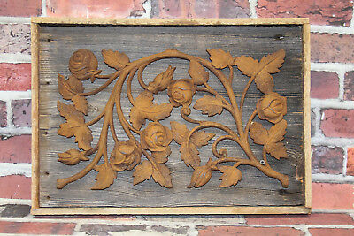 Antique Cast Iron Reclaimed Barn Wood Wall Hanging Art Architectural Salvage