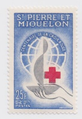 1963 St. Pierre et Miquelon - 100th Anniversary of Red Cross - 25 Fr Stamp