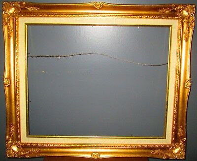 """Vintage Wood Ornate Gold Colored Frame Beautiful Detail 25.5"""" x 21.5"""" x1"""""""