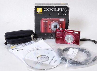 Nikon COOLPIX L26 16.1MP 5X Zoom Digital Camera - Red - Good Working Conditions