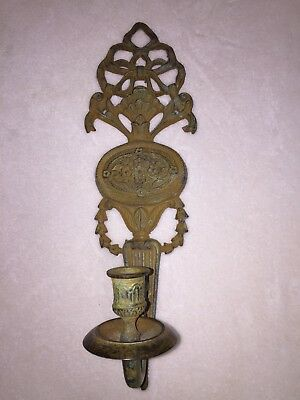 Antique Brass or Iron Sconce Candle Holder Wall Hanging Green Patina 14.5""