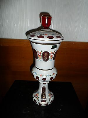Rare Vintage Lausitzer Glas Red Crystal Handpainted Vase With Lid