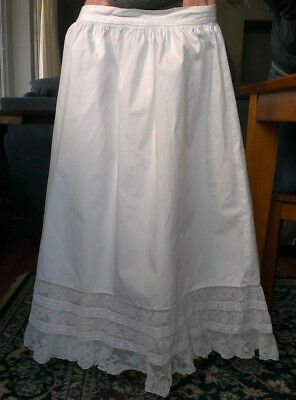"ANTIQUE VICTORIAN PETTICOAT SKIRT NORMANDY(?) LACE Trim 32"" Length"