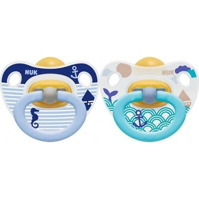 NUK Latex Happy Kids Soother 2 pack 6 - 18 months - blue and white