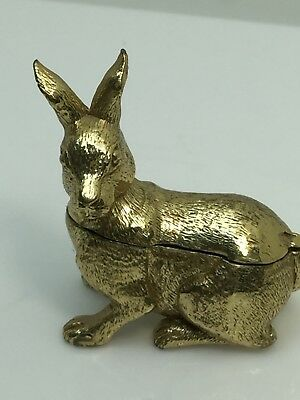 Vintage Solid Brass Rabbit Trinket Box Decor