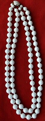 """Vintage White faceted Bead two strand  Necklace 23"""" West Germany Retro- 60s"""