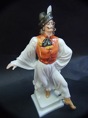 Vintage Hungarian Herend Porcelain Figurine of Peasant with Hat Dancing Lad