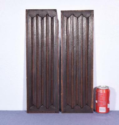 *Pair of Antique Gothic Revival Solid Oak Wood Panels w/Linen Fold Carvings