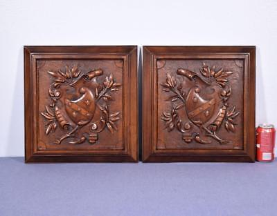 """*Pair of 16"""" Tall French Antique Carved Panels in Walnut Wood w/Coat of Arms"""