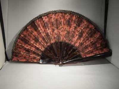 Beautiful Antique 19Th C. Faux Tortoise Shell And Silk Lace Folding Fan