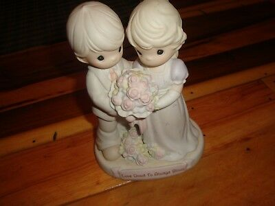 Precious Moments Large Love Vows To Always Bloom Loving Couple Holding Flowers