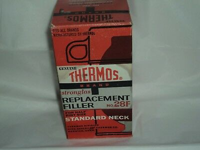 Vintage Thermos Replacement Filler Glass Vacuum Bottle No. 28F Standard Neck New